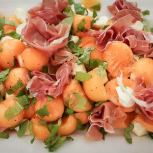 Cantaloupe Mozzarella and Prosciutto Salad